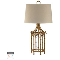 Signature 32 inch 60 watt Gold Leaf Table Lamp Portable Light