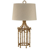Bamboo Birdcage 32 inch 150 watt Gold Leaf Table Lamp Portable Light in Incandescent