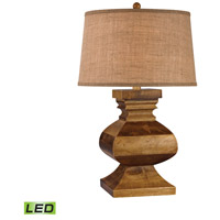 Dimond Lighting D2870-LED Carved Wood Post 29 inch 9.5 watt Dark Russian Oak Table Lamp Portable Light in LED
