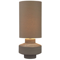Geometric Brutalist 26 inch 150 watt Grey Clay Table Lamp Portable Light in Incandescent