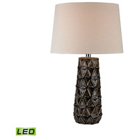 Stacked Pedals 26 inch 9.5 watt Chocolate Brown Glaze Table Lamp Portable Light in LED