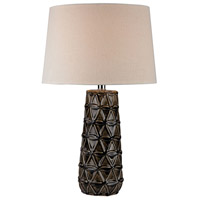 Stacked Pedals 26 inch 150 watt Chocolate Brown Glaze Table Lamp Portable Light in Incandescent