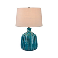 Dimond Lighting D2879 Ribbed Blues Ceramic 24 inch 150 watt Turquoise Glaze Table Lamp Portable Light in Incandescent