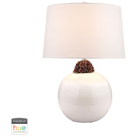 Signature 27 inch 60 watt Brown with White Table Lamp Portable Light