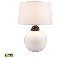 Embellished Neck Ceramic 27 inch 9.5 watt White and Brown Table Lamp Portable Light in LED