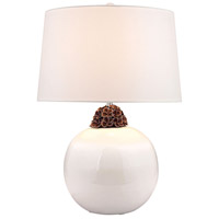 Embellished Neck Ceramic 27 inch 150 watt White and Brown Table Lamp Portable Light in Incandescent