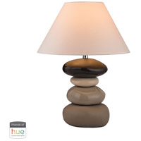 Stacked Stones 26 inch 60 watt Chocolate with Cream Glaze Table Lamp Portable Light