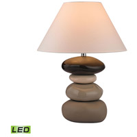 Stacked Stones 26 inch 9.5 watt Chocolate and Cream Glaze Table Lamp Portable Light in LED