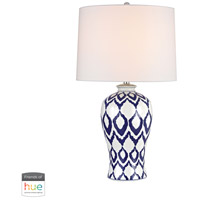 Kew 31 inch 60 watt Blue with White Glaze Table Lamp Portable Light