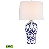 Dimond Lighting Kew 1 Light Table Lamp in Blue And White Glaze D2921-LED