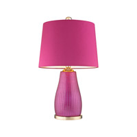 Brigitte 26 inch 100 watt Cerise Pink & Gold Table Lamp Portable Light