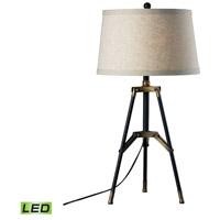 Functional Tripod 30 inch 9.5 watt Restoration Black and Aged Gold Table Lamp Portable Light in LED