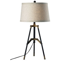 Dimond Lighting D309 Functional Tripod 30 inch 150 watt Aged Gold/Restoration Black Table Lamp Portable Light in Incandescent