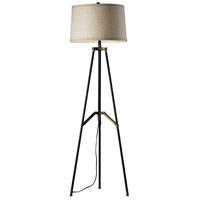 Functional Tripod 54 inch 150 watt Restoration Black and Aged Gold Floor Lamp Portable Light in Incandescent