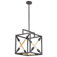 Box Tube 5 Light 16 inch Oil Rubbed Bronze Pendant Ceiling Light