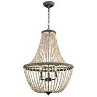 Dimond Lighting D3307 Cote des Basques 3 Light 20 inch Natural Shell/Pebble Grey Chandelier Ceiling Light photo thumbnail