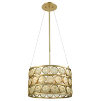 Signet 5 Light 20 inch Light Amber Smoke and Gold Chandelier Ceiling Light, Small