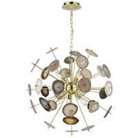 Galileo 6 Light 28 inch Bright Gold and Natural Agate Chandelier Ceiling Light