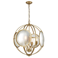Le Style Metro 4 Light 23 inch Gold and Antique Mercury Chandelier Ceiling Light