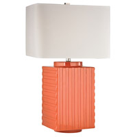 Ribbed Ceramic 28 inch 150 watt Orange Table Lamp Portable Light in Incandescent