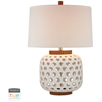 Woven Ceramic 26 inch 60 watt Whitewashed Wood Tone Table Lamp Portable Light