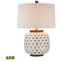 Dimond Lighting D346-LED Woven 26 inch 9.5 watt White and Wood Tone Table Lamp Portable Light in LED