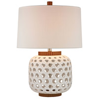 Woven 26 inch 150 watt White and Wood Tone Table Lamp Portable Light in Incandescent