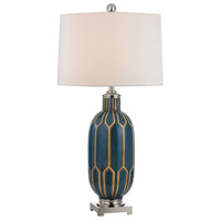 Dimond Lighting Signature 1 Light Table Lamp in Blue and Off White Ceramic and Metal D351