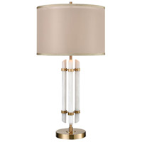 Embassy 34 inch 150 watt Cafe Bronze/White Faux Alabaster Table Lamp Portable Light