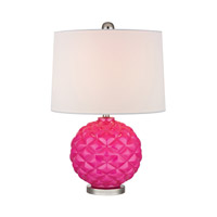 Dimond Lighting Signature 1 Light Table Lamp in Hot Pink and Polished Nickel Glass and Metal D353