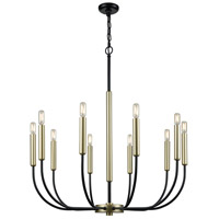 Transatlantique 10 Light 34 inch Black and Soft Gold Chandelier Ceiling Light
