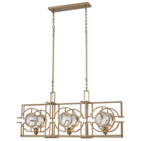 Dimond Lighting D3552 Lens Flair 3 Light 40 inch Matt Gold Island Light Ceiling Light
