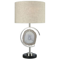 Geodesynchronous 27 inch Polished Nickel with Agate and Black Marble Table Lamp Portable Light