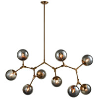 Dimond Lighting D3564 Synapse 9 Light 60 inch New Aged Brass and Smoke Grey Linear Chandelier Ceiling Light