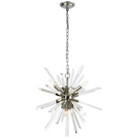 Ice Geist 6 Light 24 inch Polished Nickel and Clear Crystal Pendant Ceiling Light