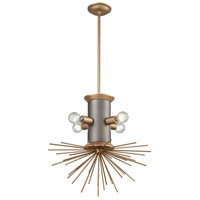 Lucy Spike 4 Light 21 inch Weathered Zinc and Antique Gold Pendant Ceiling Light