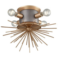 Lucy Spike 4 Light 19 inch Weathered Zinc and Antique Gold Flush Mount Ceiling Light