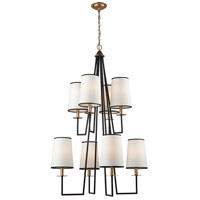 Nico 8 Light 30 inch Oil Rubbed Bronze and Antique Gold Leaf Chandelier Ceiling Light