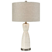 Countess Of Cork 24 inch Off White Glaze and Pewter Table Lamp Portable Light