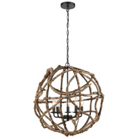 Dimond Lighting D3810 Wrapture LED 21 inch Wood Tone with Oil Rubbed Bronze Chandelier Ceiling Light
