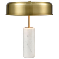 Dimond Lighting D3850 Top Brass 17 inch 40 watt White Marble with Antique Brass Table Lamp Portable Light