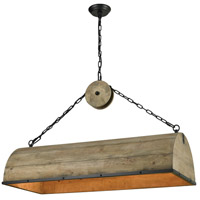 Single Barrel LED Weathered Antique Brass with Black Chandelier Ceiling Light