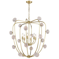 Dimond Lighting D3863 Assent LED 32 inch New Aged Brass with Clear Chandelier Ceiling Light