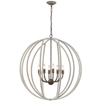 Dimond Lighting D3868 Lasso LED 32 inch Grey Rope/Grey Brown Rust Chandelier Ceiling Light