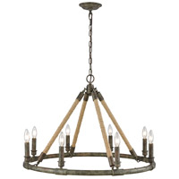 Dimond Lighting D3870 Big Sugar LED 30 inch Brown Grey Rust with Grey Wash and Natural Rope Chandelier Ceiling Light