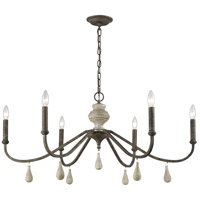 Dimond Lighting D3871 French Connection 6 Light 38 inch Malted Rust/Gray Wood Chandelier Ceiling Light