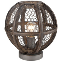 Renaissance Invention 11 inch 100 watt Aged Wood with Weathered Zinc Table Lamp Portable Light