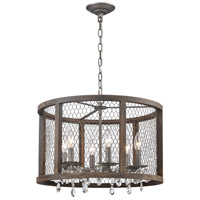 Dimond Lighting D4004 Renaissance Invention 6 Light 20 inch Aged Wood with Weathered Zinc Drum Pendant Ceiling Light