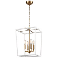 Dimond Lighting D4035 Kingdom 4 Light 14 inch White with Aged Brass Pendant Ceiling Light