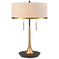 Magnifica 22 inch 60 watt Aged Brass with Black Table Lamp Portable Light